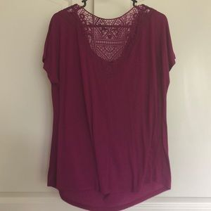 Faded Glory Tops - Faded Glory cowl neck lace back blouse